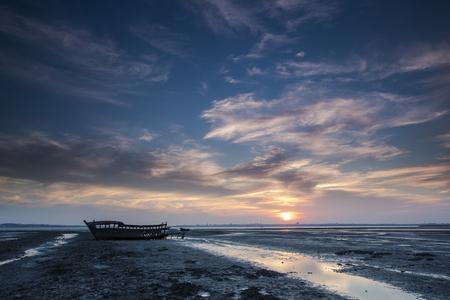 evening sky: Evening sky fishing boats