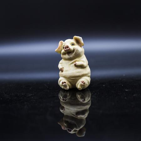 Pig Porcelain figure Stock Photo