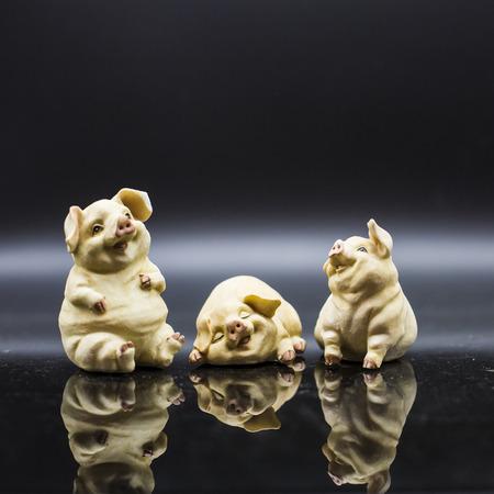 The pigs Porcelain figure Stock Photo