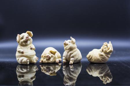 orioles: The pigs Porcelain figure Stock Photo