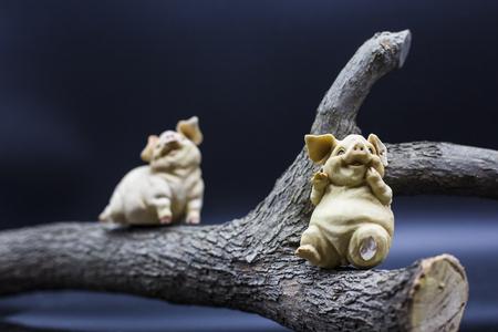Pig tree Porcelain figure