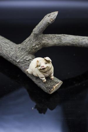 orioles: Pig Porcelain figure Stock Photo