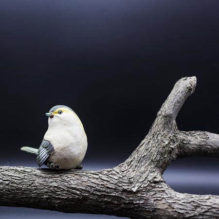 orioles: Ornament bird and stakes Stock Photo