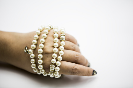 freshwater pearl: Pearl Bracelets Necklaces Stock Photo