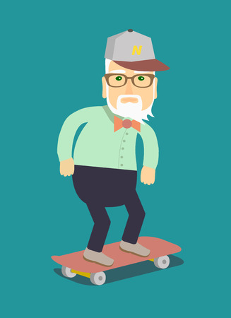 Grandpa on a skateboard. Isolated illustration in a flat style . Illustration