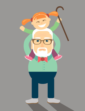 illustration in a flat style. Grandpa put his granddaughter on his shoulders.