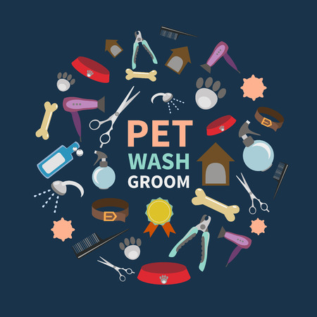 cat grooming: set of characters in a flat style.  The main tools which are used in the beauty salon for animals. Dog grooming icons set. Illustration