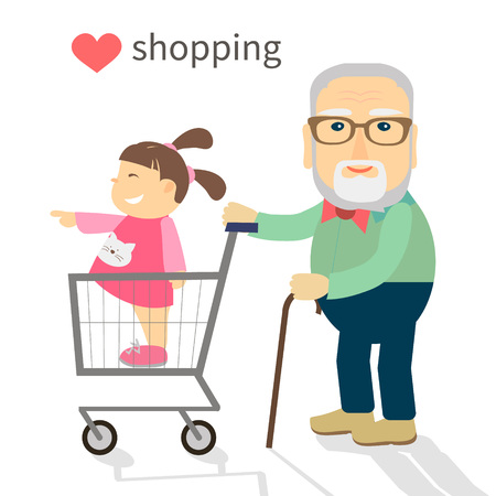 Grandfather carries his granddaughter shopping in the trolley.