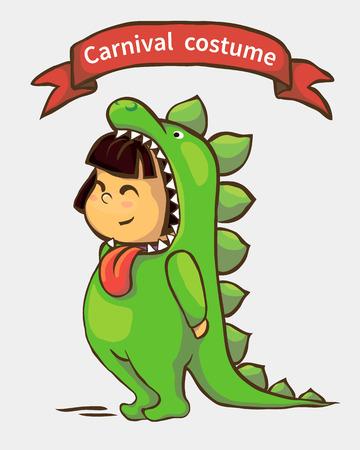 niños vistiendose: niña pequeña en traje de carnaval. niño en traje de dinosaurio