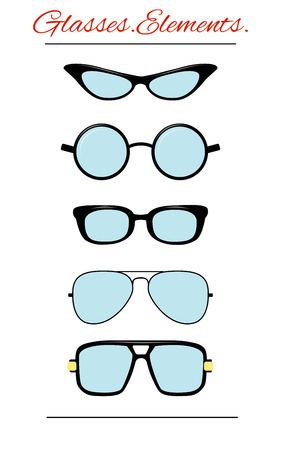 eye sockets: set of characters in a flat style. Isolated template glasses