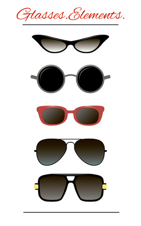 set of characters. Isolated template sunglasses.