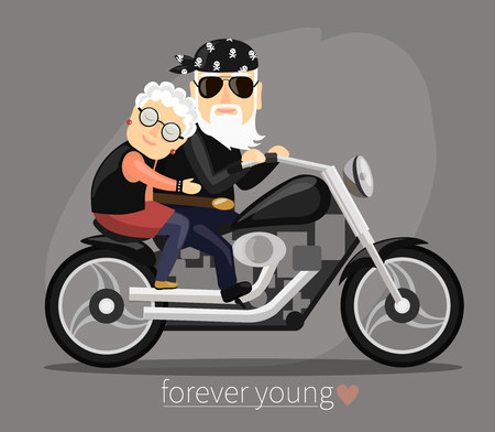 illustration in a flat style. Grandma and grandpa riding a motorcycle. 矢量图像
