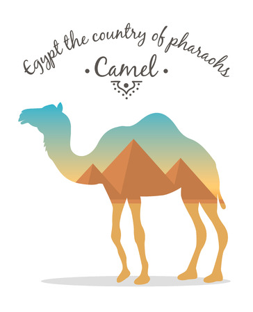 inscribed: landscape Egyptian pyramids inscribed in the silhouette of a camel.