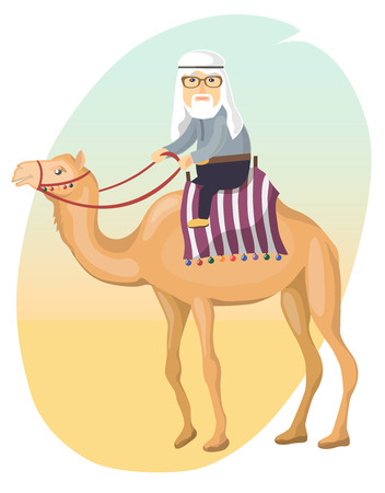 sand dunes: illustration in a flat style. an elderly man on a camel