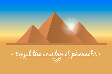 The mysterious landscape of the Egyptian pyramids. Vector illustration in a flat style.