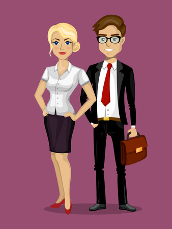 computer work: Vector illustration in a flat style.  The characters man and woman businessmen.