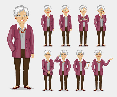 A set of poses and emotions. Vector illustration in a flat style.  Character women businessman