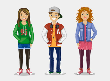 Set of images of three teenagers in stylish clothes. Иллюстрация
