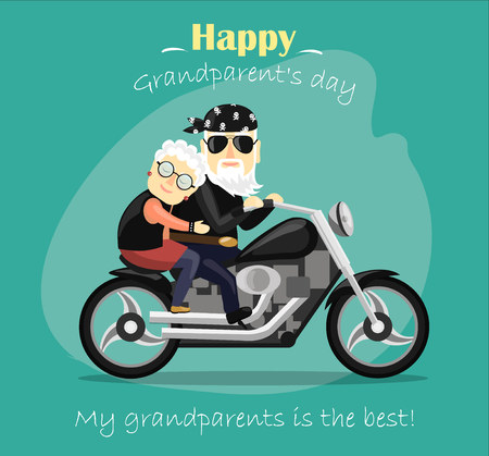 Greeting card for grandparent's day. Grandma and grandpa riding a motorcycle.