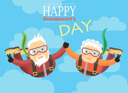Greeting card happy grandparents. Grandparents skydive in the sky.