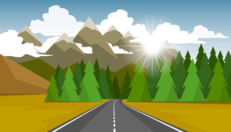 Vector illustration in a flat style. Landscape nature.