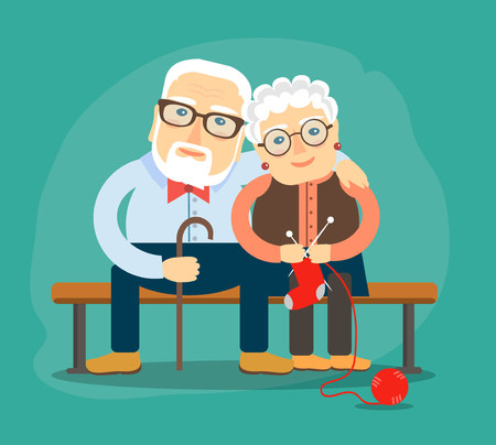 elderly people resting on a bench. Vector illustration in a flat style. Illustration