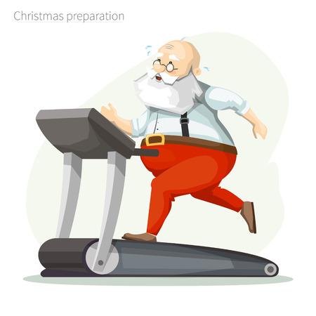 Santa Claus on the treadmill, running, losing weight. Getting ready for Christmas.
