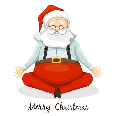 Santa Claus meditating. The Lotus posture. Yoga Illustration