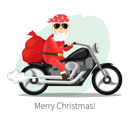 Papá Noel lleva un saco de regalos en una moto genial