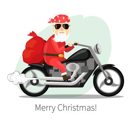 Santa Claus carries a sack of gifts on a cool motorcycle