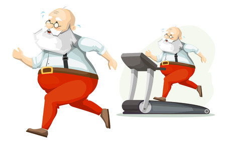 genial: Santa Claus on the treadmill, running, losing weight. Getting ready for Christmas.
