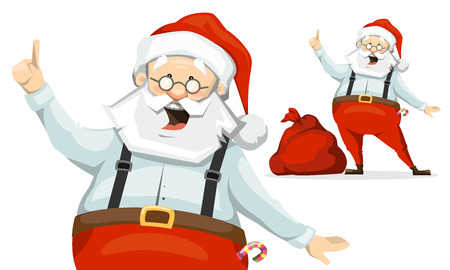 Santa Claus raised his finger up and shares his brilliant idea. sack of presents