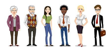 set van mensen van verschillende nationaliteiten en leeftijden. stripfiguren Vector Illustratie