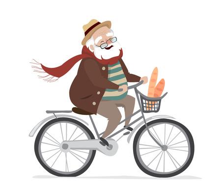 Vector elderly man on a bicycle. Elderly exercising. Flat cartoon vector illustration.