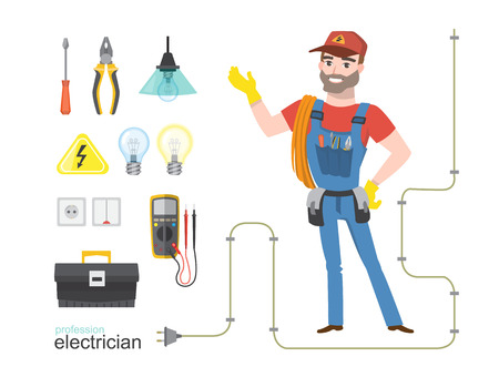 Professional electrician infographics electricity tools installation, vector illustration set