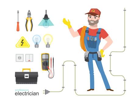 専門の電気技師インフォ グラフィック電気ツールのインストール、ベクトル イラスト セット  イラスト・ベクター素材
