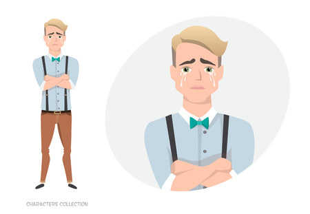 The guy crossed his arms and cries. Stock Photo