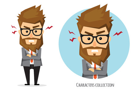 The businessman is angry Vector illustration. Illustration