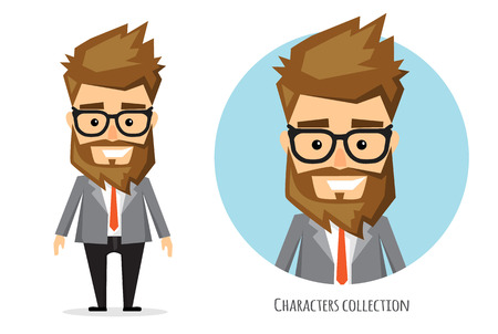 businessman with beard in formal suit Illustration