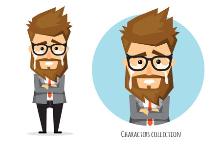 Cartoon vector of businessman is sad crying, Business concept, Vector illustration.