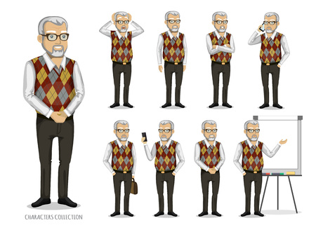 grandfather in business clothes Vector illustration. Illustration