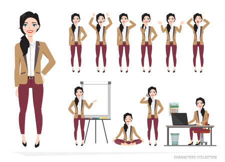 girl laptop: Set of emotions for business woman.