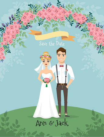 Save the date. Wedding invitation with bride and groom with flowers elements  イラスト・ベクター素材