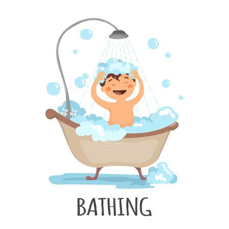 kleines Kind ein Bad nehmen isoliert auf weißem Hintergrund