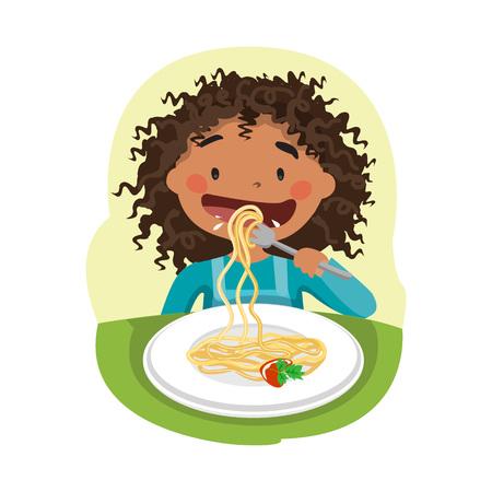 Niño comiendo alimentos saludables. Ilustración de vector
