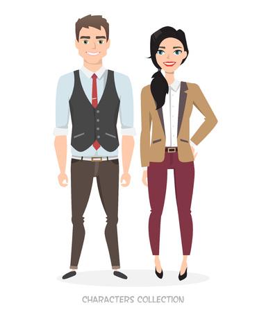 비즈니스 정장에 두 젊은 캐릭터. 현대 세계에서 유니섹스 스타일. 현대 패션. 사업 및 경력에서 양성 평등. 일러스트