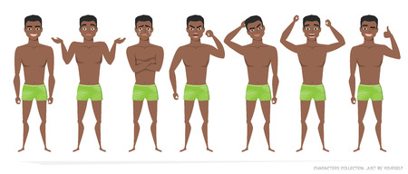 Set of gestures of young black African american man