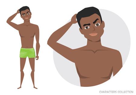 Black african american man thinking pose.