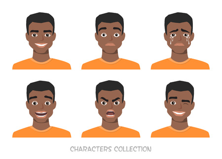 creator: Set of emotions and gestures to the young black african american man.