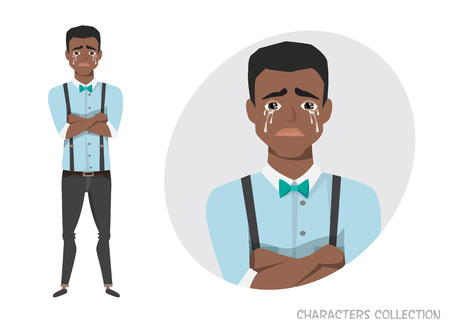 The black african american guy crossed his arms and cries. Illustration